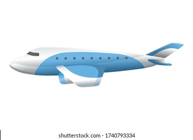 Airplane on white background. Airliner in side view. Vector realistic aircraft cargo. Passenger plane, sky flying aeroplane