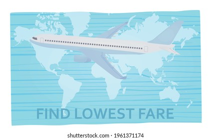 Airplane on world's map. Lowest fare text. vector