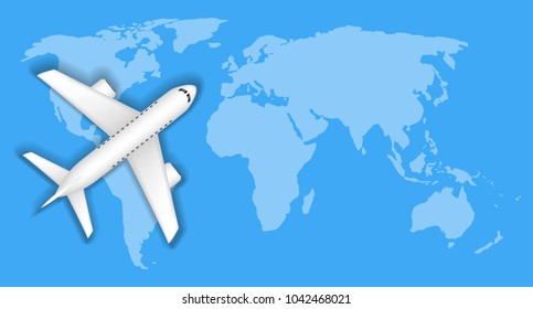 airplane over blue world map travel concept