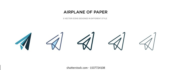 airplane of paper sheet icon in different style vector illustration. two colored and black airplane of paper sheet vector icons designed in filled, outline, line and stroke style can be used for
