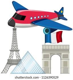 Airplane with paris landmarks illustration