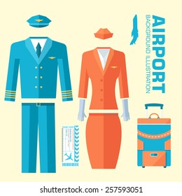 airplane pilot and stewardess uniform on flat style background concept. Vector illustration for colorful template for you design, web and mobile applications