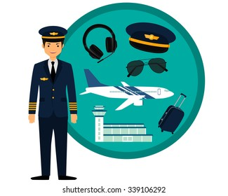 Airplane pilot in uniform and icons set. Vector illustration