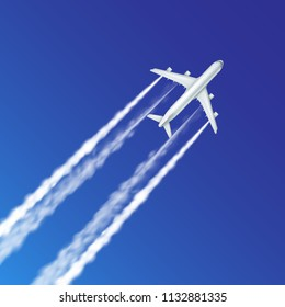 Airplane plane aircraft aeroplane airline flying with jet contrails or trails vector realistic illustration isolated on blue sky background