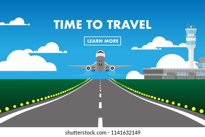 "The airplane (plane) is taking off from the airport in day time with airport terminal, air traffic control (ATC), runway and text ""Time To Travel"" for wallpaper,background,backdrop"