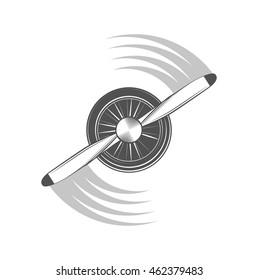 Airplane propeller emblem. Biplane label. Retro Plane badges, design elements. Vintage prints for t shirt. Aviation stamp. Air tour logo. Travel logotype.