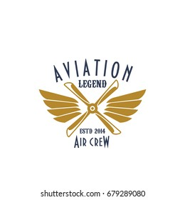 Airplane propeller and wings for aviation icon. Vector isolated symbol or badge of retro vintage aircraft airscrew for aviation legend or flight adventure and air custom or pilot sport team crew