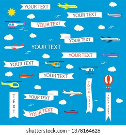 Airplane pulling advertising banner. Flying helicopter and biplane with ad ribbons, vector illustration.