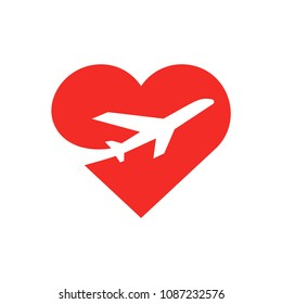 Airplane in red heart vector illustration. Bright symbol for mobile apps website business agencies. Flat style creative design. Isolated on white background