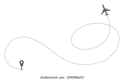 Airplane route in dotted line shape. Abstract airplane flying  on white background. Travel concept vector illustration