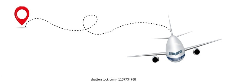 Airplane route in dotted line shape isolated on white background. Abstract concept graphic element for air transportation presentation. Vector illustration.