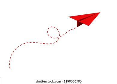 Airplane route in the dotted line shape. Travel concept, paper airplane path. Vector