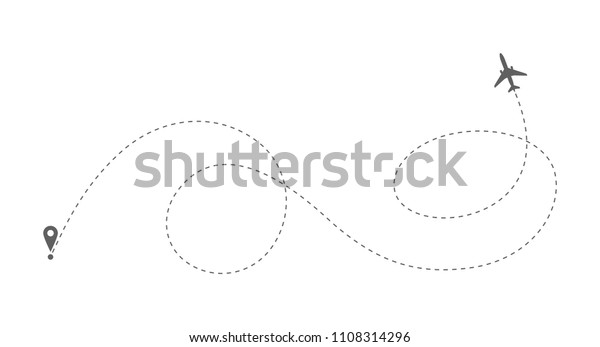 Airplane Route Dotted Line Shape Abstract Stock Vector (Royalty Free