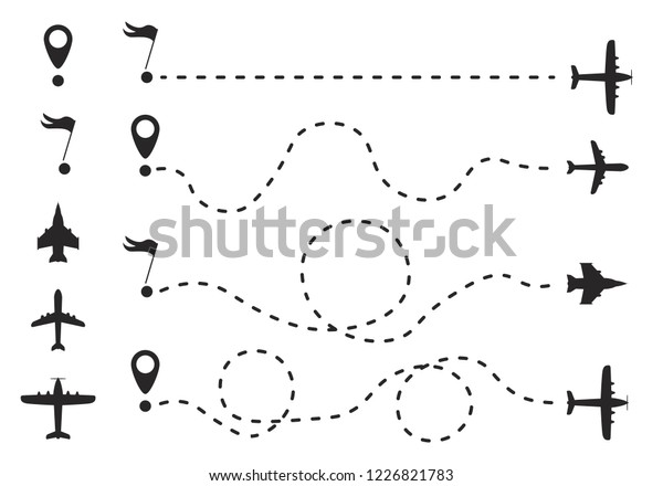 Airplane Route Dotted Line Shape Route Stock Vector (Royalty Free