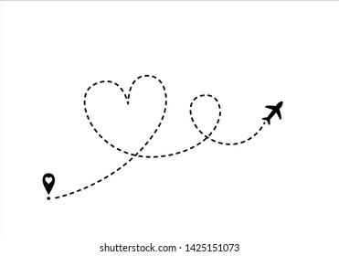 airplane route dotted path line hand drawn vector