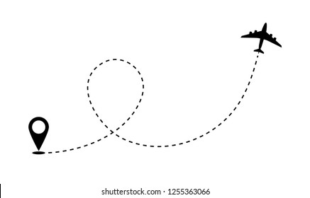 Airplane route path icon. Vector plane flight line trace, travel fly plan.