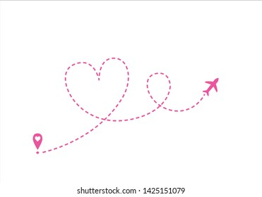 airplane route path line pink  heart dotted hand drawn vector Airplane line path icon of air plane flight route with start point and dash line trac. illustration
