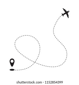 Airplane route or path vector illustration. Vector.