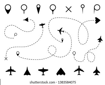 Airplane route. Plane trace line, aeroplanes pathways flight lines, planning routes travels pointers traffic fly track path vector set