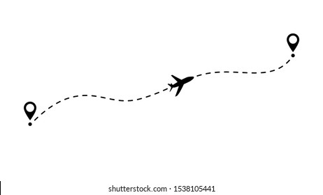 Airplane route vector illustration. Fly line path icon of air plane flight route with start point and dash line trace