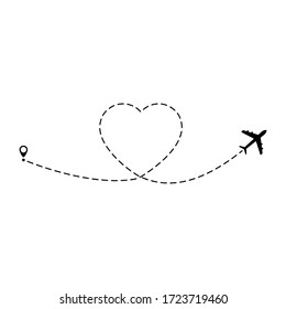 Airplane route vector illustration. Heart dashed lines path with start point and dash line trace isolated on white background.