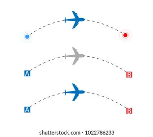 Airplane route vector illustration. International flight. Flight from point A in B.
