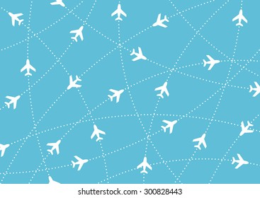 Airplane routes. Air travel. Air traffic silhouette. White airplanes isolated on blue background. Web site page and mobile app design element.