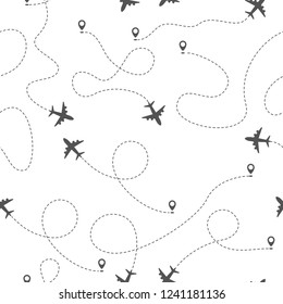 Airplane routes with dotted line, seamless pattern on white background