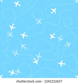 Airplane routes with dotted line, seamless pattern on blue background