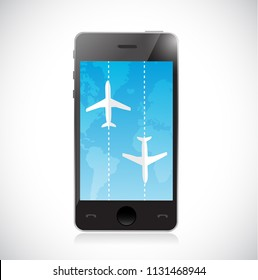 airplane routes on a smartphone. concept. bussiness concept illustration. over a white background