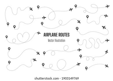 Airplane routes. Travel vector icon. Travel from start point and dotted line tracing.