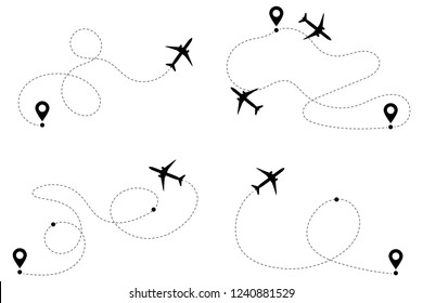Airplane routes vector set. Line path vector icons of air plane flight routes with start point and dash line trace. Aircraft clip art icons with way path tracks. Airplanes minimal vector illustration