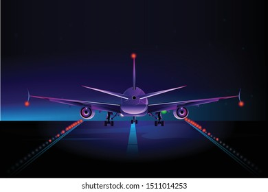 Airplane runway colorful vector flat illustration
