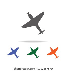 Airplane with screw, plane silhouette  icon . Elements of Military multi colored icons. Premium quality graphic design icon. Simple icon for websites, web design, mobile app on white background