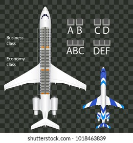 Airplane Seat Map With Business and Economy Class  Seats Isolated. Plane Interior. Vector illustration