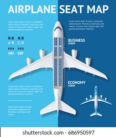 Airplane Seat Map Business or Economy Class Card Plane and Place for Text. Vector illustration