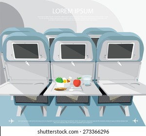 Airplane seats with opened tables, food and drink - vector illustration