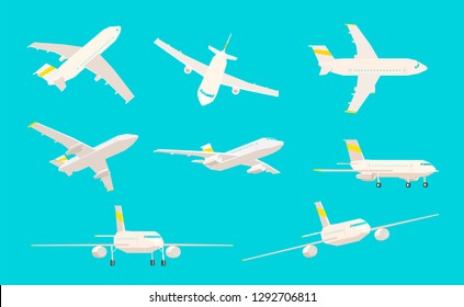 Airplane set, different angles of sight on a blue background, low poly aircraft.