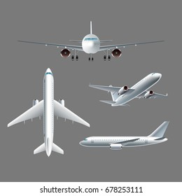 Airplane side front and top view isolated photo-realistic vector illustration