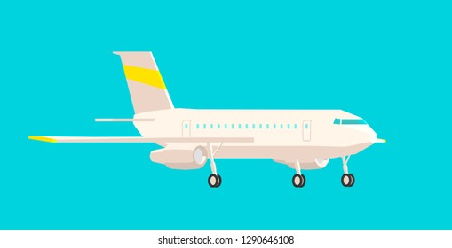 Airplane side view, on a blue background