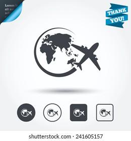 Airplane sign icon. Travel trip round the world symbol. Circle and square buttons. Flat design set. Thank you ribbon. Vector