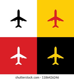 Airplane sign illustration. Vector. Icons of german flag on corresponding colors as background.