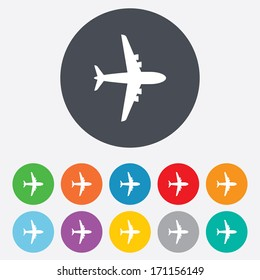 Airplane sign. Plane symbol. Travel icon. Flight flat label. Round colourful 11 buttons. Vector