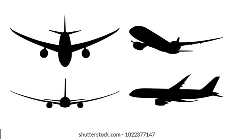 Airplane silhouette all sides on white Vector illustration