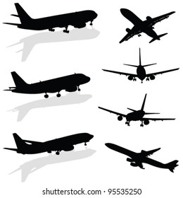 airplane silhouette in black vector on white background