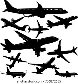 Airplane silhouette collection - vector