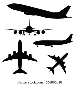 airplane silhouette in different view black vector