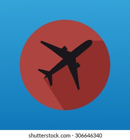Airplane Silhouette With Flat Button And With Long Shadow