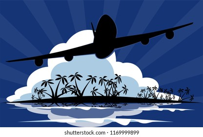 Airplane silhouette flying over tropical paradise