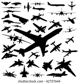 airplane silhouette set